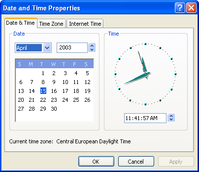 Time and date in Windows XP Pro (Date and Time Properties)