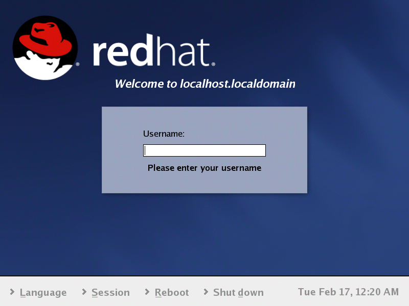 Login screen in GNOME 2.2.0 in RedHat 9
