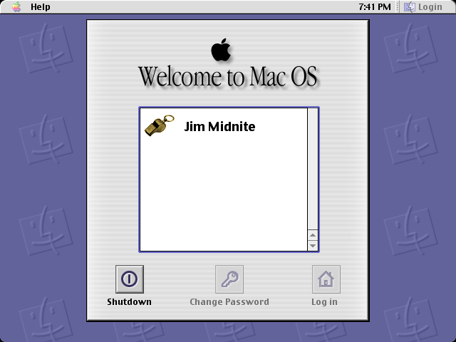Login screen in Mac OS 9.0