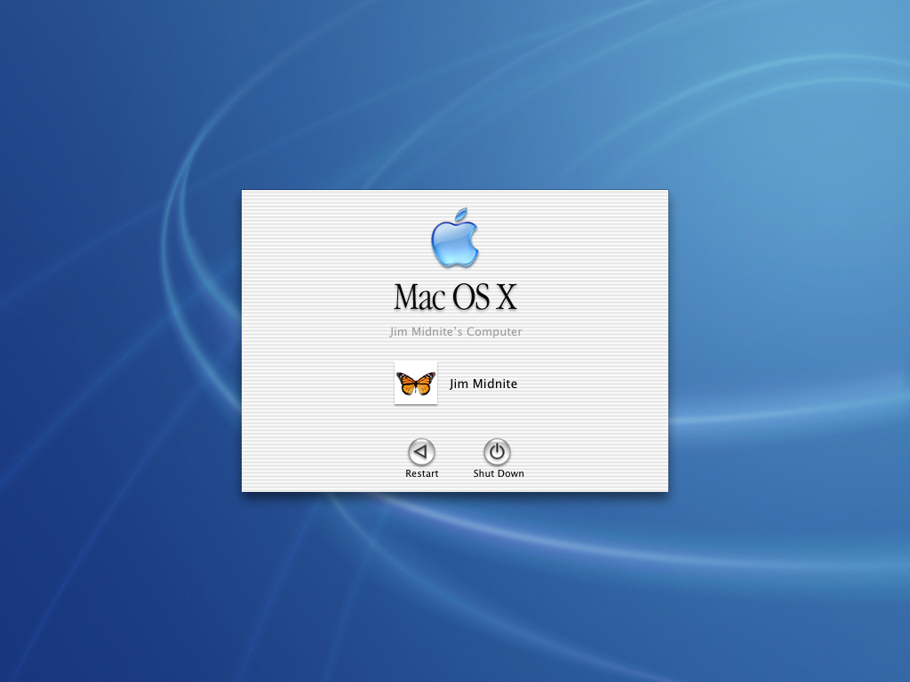Login screen in Mac OS X Jaguar