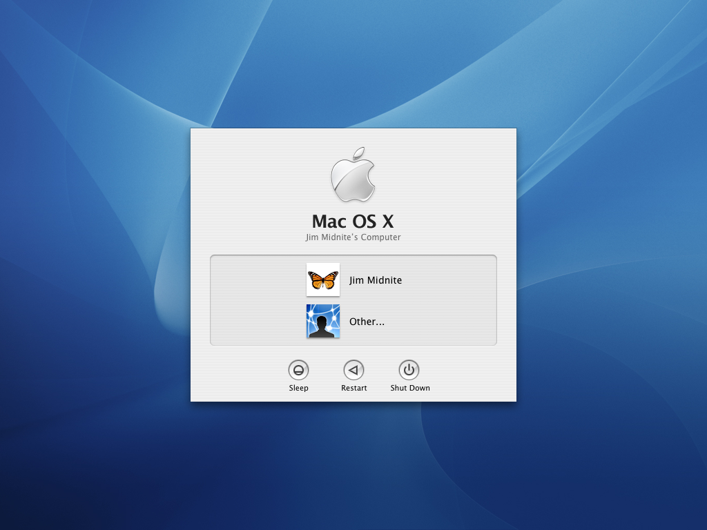 Login screen in Mac OS X Panther