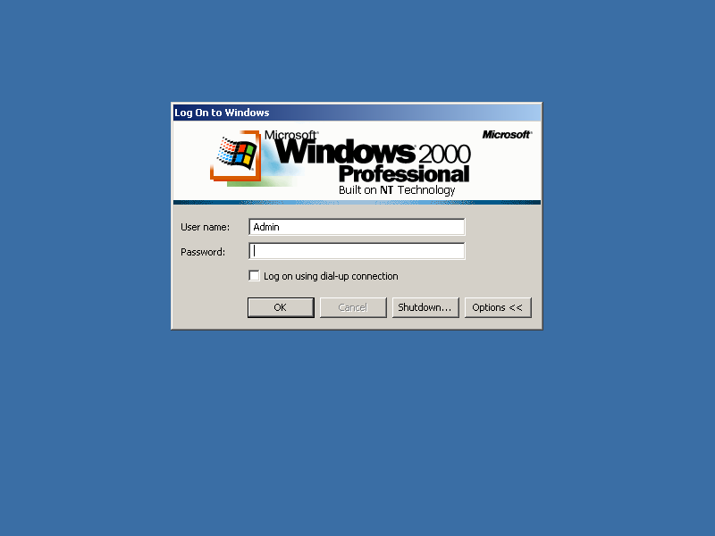 Login screen in Windows 2000 Pro