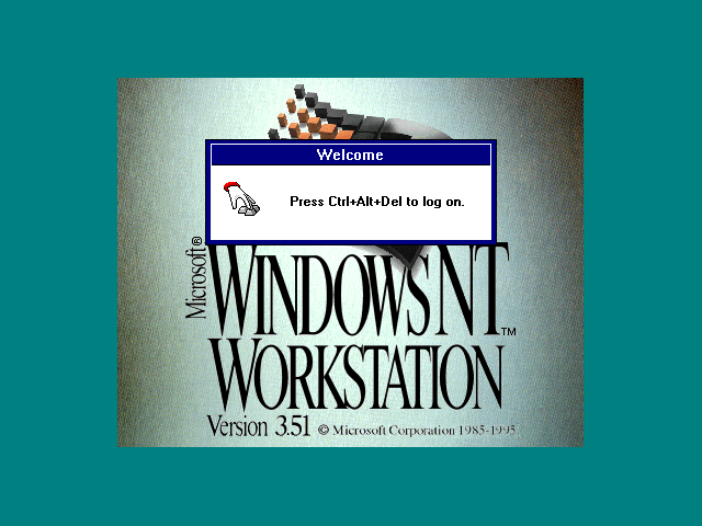 Login screen in Windows NT 3.51 Workstation