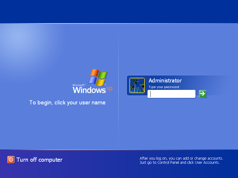 Login screen in Windows XP Pro