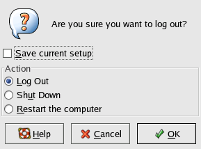 Logout screen in GNOME 2.2.0 in RedHat 9