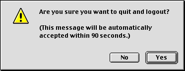 Logout screen in Mac OS 9.0