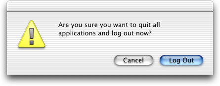 Logout screen in Mac OS 10.0.4