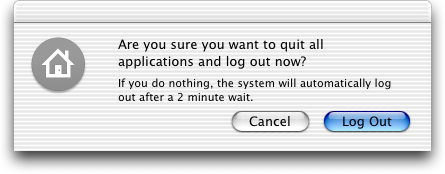 Logout screen in Mac OS X Jaguar
