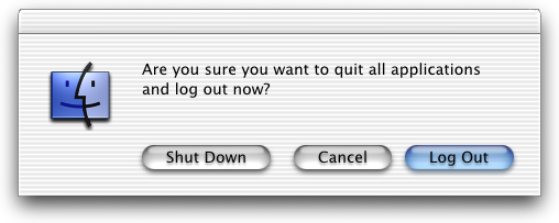 Logout screen in Mac OS X DP 3