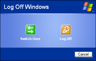 Logout screen in Windows XP Pro (Log Off Windows)