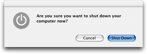 Shutdown window in Mac OS X Jaguar
