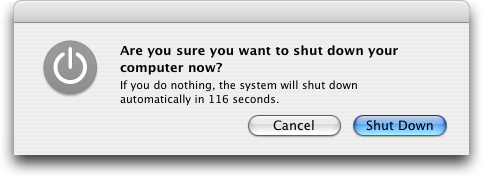 Shutdown window in Mac OS X Panther
