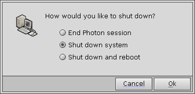 Shutdown window in QNX 6.2.1 NC