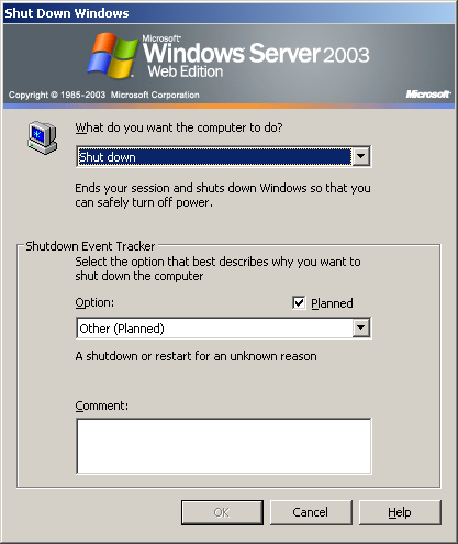 Shutdown window in Windows Server 2003 Web (Shut Down Windows)