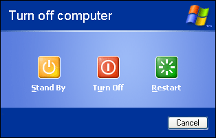 Shutdown window in Windows XP Pro (Turn off computer)