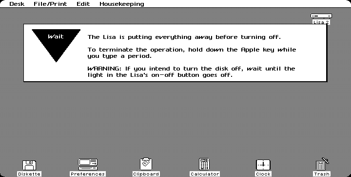 Shutting down in Lisa OS 3.1