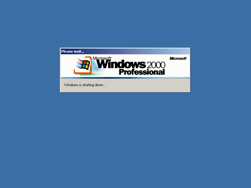 Shutting down in Windows 2000 Pro