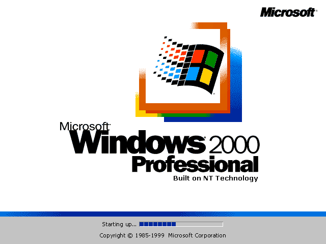 Welcome splash in Windows 2000 Pro