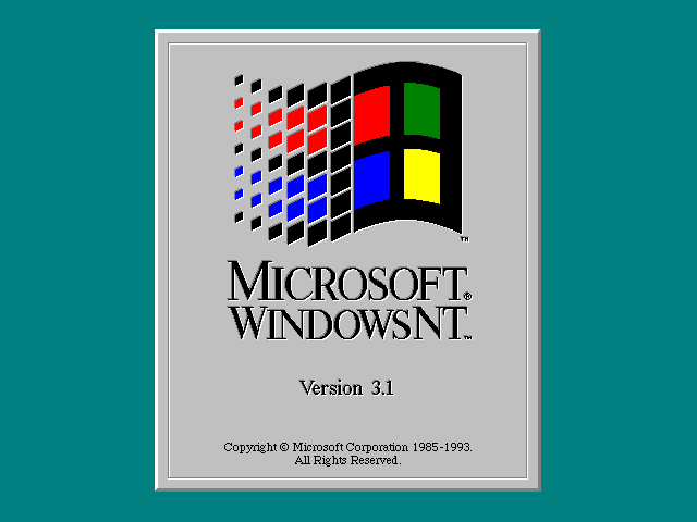 Welcome splash in Windows NT 3.1 Workstation