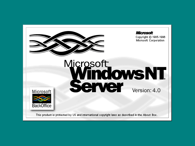 Welcome splash in Windows NT 4.0 Server