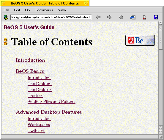 Help in BeOS R5.0.1 PE (BeOS 5 User's Guide)