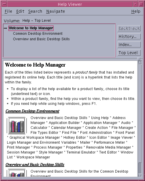 Help in CDE 1.5 in Solaris 9 (Help Manager)