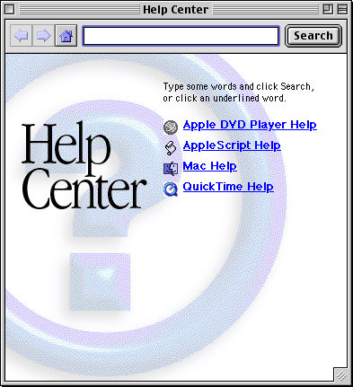 Help in Mac OS 9.0 (Help Center)