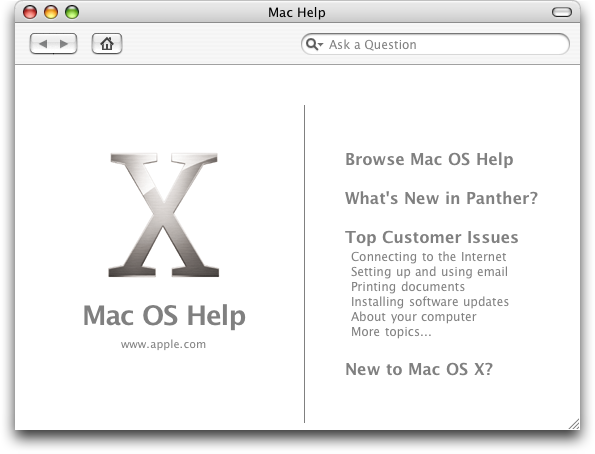 Help in Mac OS X Panther (Mac Help)