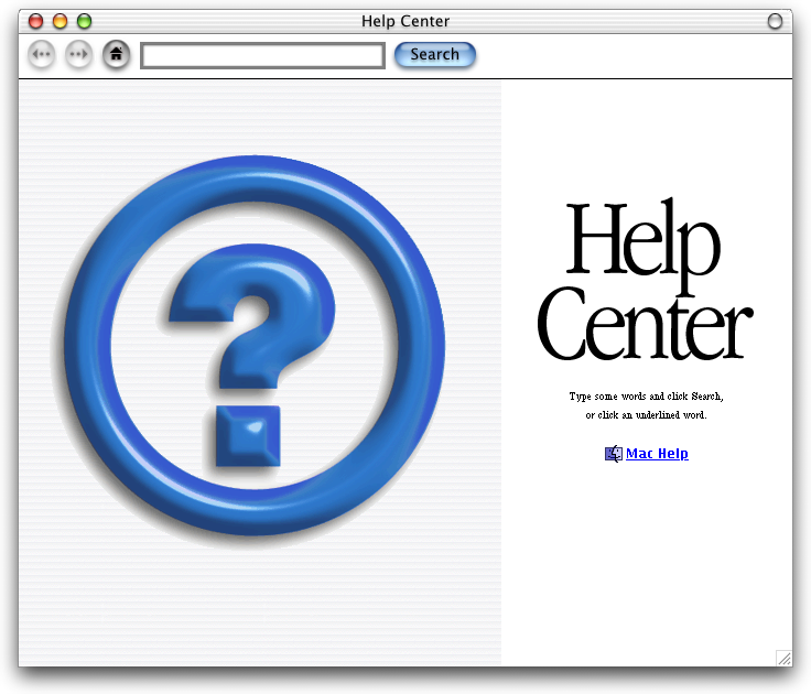 Help in Mac OS X DP 3 (Help Center)