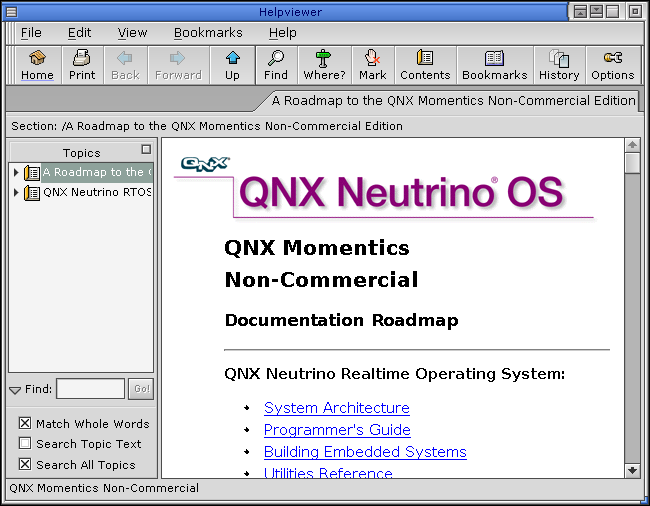 Help in QNX 6.2.1 NC (Helpviewer)