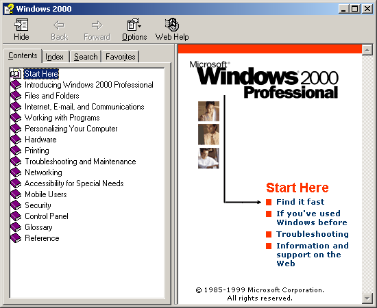 Help in Windows 2000 Pro