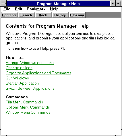 Help in Windows 3.1 (Program Manager Help)