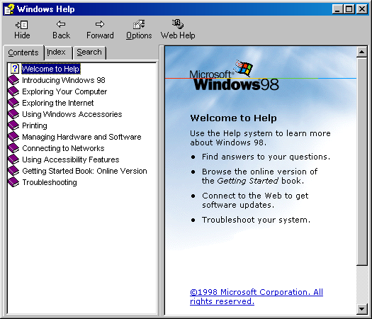 Help in Windows 98 (Windows Help)