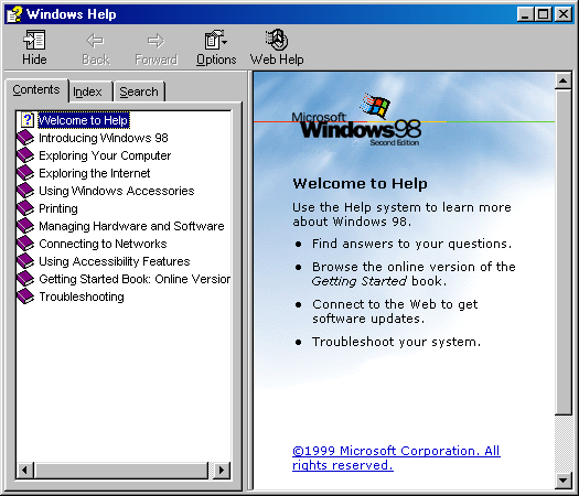 Help in Windows 98 SE (Windows Help)