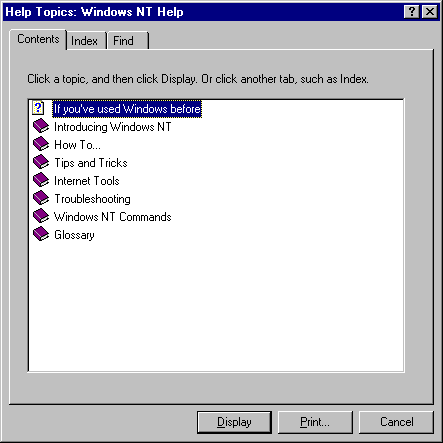 Help in Windows NT 4.0 Server (Windows NT Help)