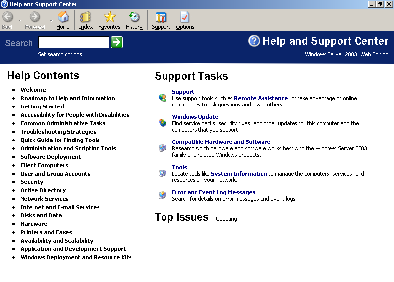 Help in Windows Server 2003 Web (Help and Support Center)