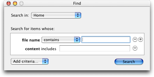 Search in Mac OS X Jaguar (Find)
