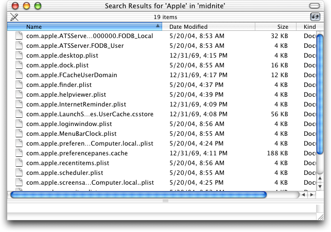 Search in Mac OS X Jaguar (Search Results)