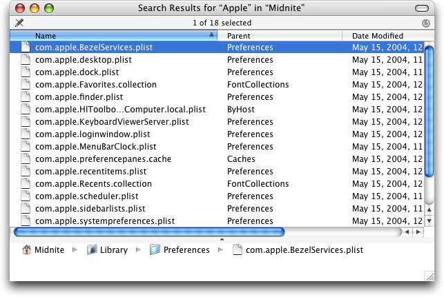 Search in Mac OS X Panther (Search Results)