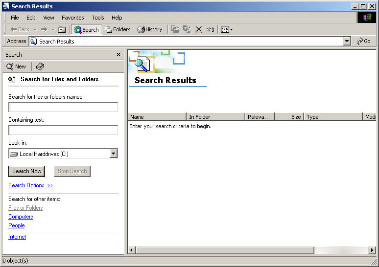 Search in Windows 2000 Advanced Server