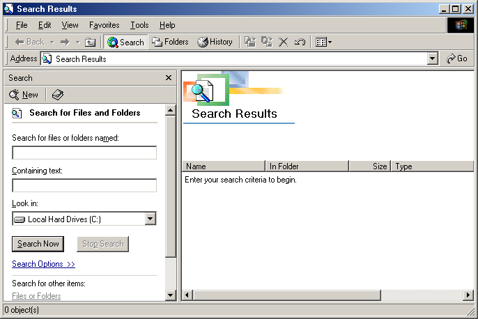 Search in Windows Me
