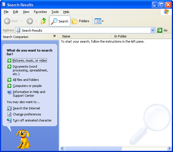 Search in Windows XP Pro
