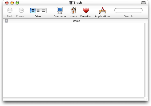 Trash can in Mac OS X Jaguar (Trash)