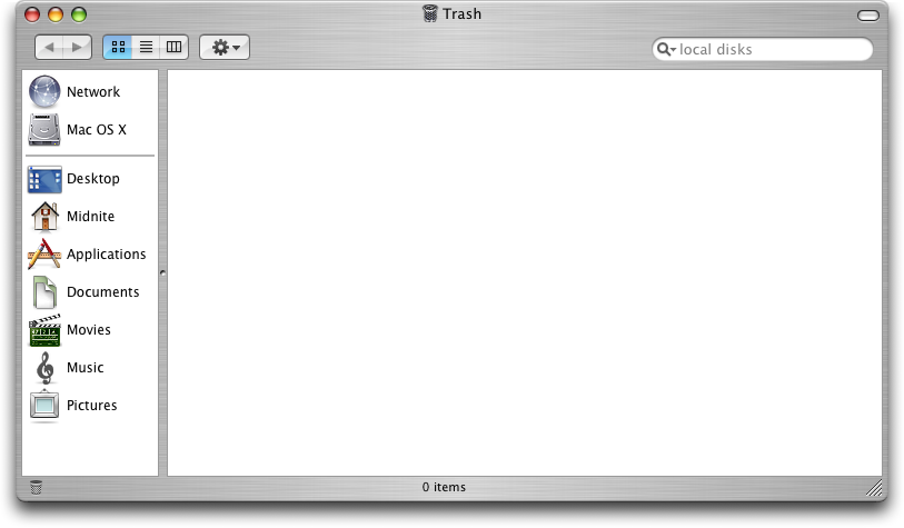 Trash can in Mac OS X Panther (Trash)