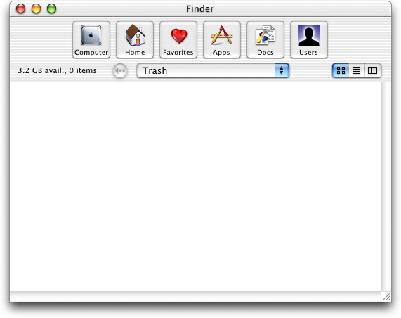 Trash can in Mac OS X Public Beta (Trash)