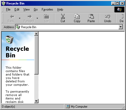 Trash can in Windows 98 (Recycle Bin)