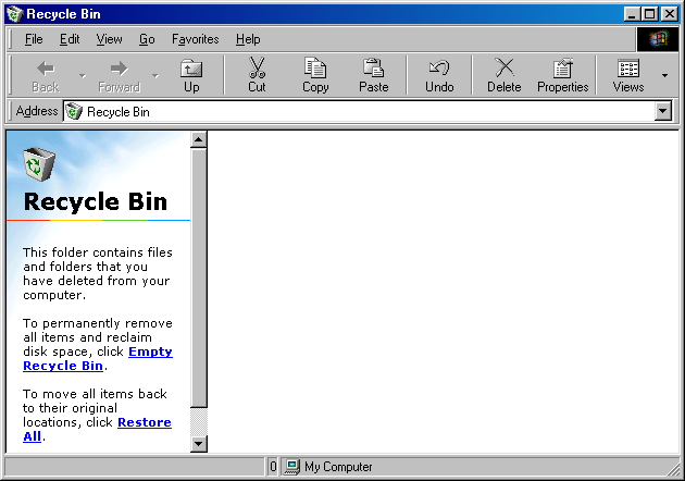 Trash can in Windows 98 SE (Recycle Bin)