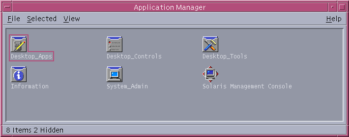 Application manager in CDE 1.5 in Solaris 9