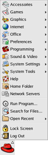 Application manager in GNOME 2.2.0 in RedHat 9 (Main Menu)