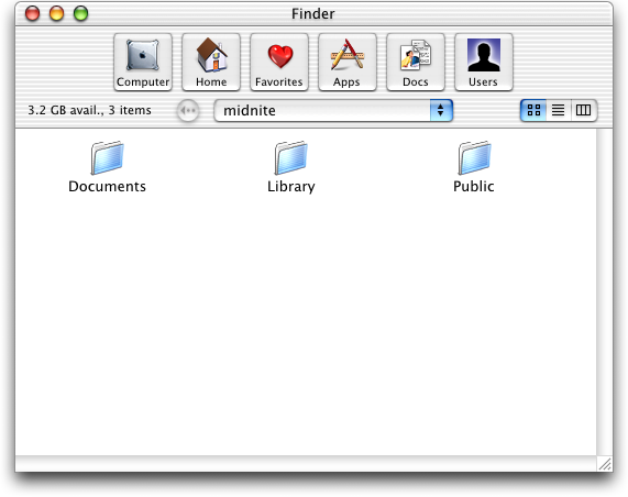 File manager in Mac OS X Public Beta (Finder)